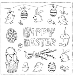 Easter traditional doodle symbols set vector image
