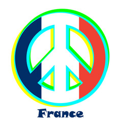 Flag of france as a sign of pacifism vector