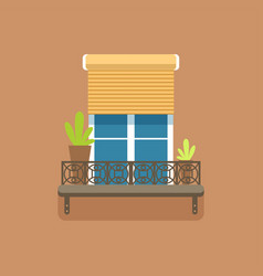 flat window with jalousie and potted flowers vector image