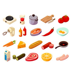 food cooking isometric icons vector image