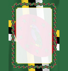 frame and border of ribbon with dominica flag vector image