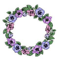 frame of vintage botanical flowers violet pansy vector image