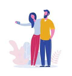 friends posing for selfie group joyful people vector image