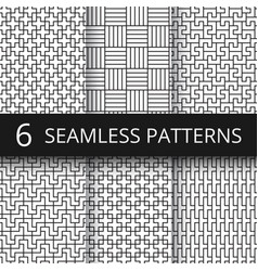 Geometric seamless patterns set modern vector