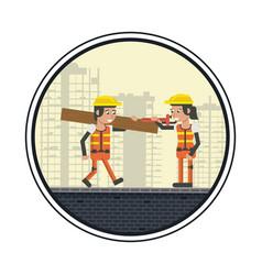 Geometric workers cartoons vector