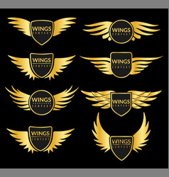 golden wing set creative sport or business vector image