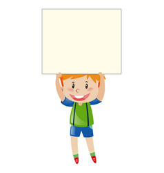 happy boy holding blank paper vector image