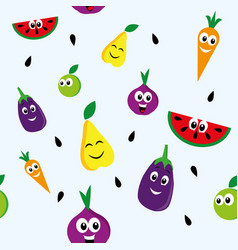 Happy fruits pattern vector