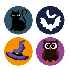 happy halloween set icons vector image