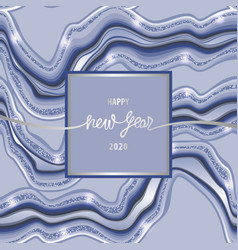 happy new year 2020 marbling greeting card vector image