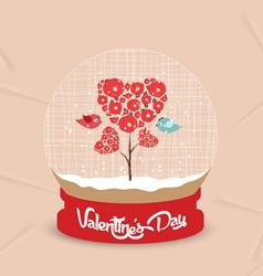 Happy valentines day with couple tree heart globe vector