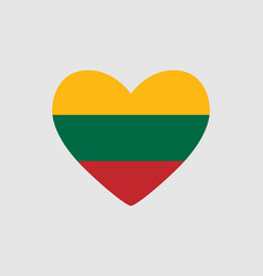 Heart of the colors of the flag of lithuania vector