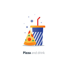 high glass of drink with piece of pizza fast food vector image