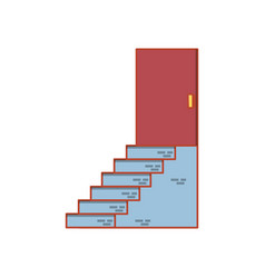 House door with stairs vector