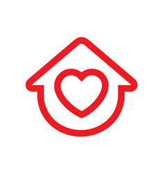 house symbol with heart shape logo design vector image