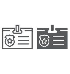 id card line and glyph icon identity and vector image