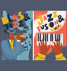 Jazz and blues music festival colorful posters vector