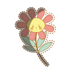 Kawaii sad flower plant with cheeks and mouth vector