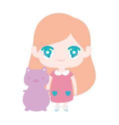 kids cute little girl anime cartoon with cute cat vector image