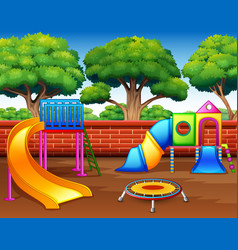 kids playground with slides in the park vector image