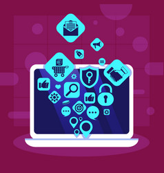 laptop network applications icons social media vector image