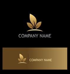 Leaf gold ecology logo vector