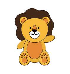 lion or stuffed cute animal icon image vector image