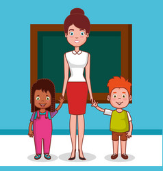 little kids group in classroom avatars characters vector image