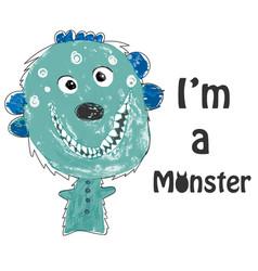 little monster childrens drawing vector image