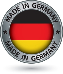 Made in Germany silver label with flag vector image
