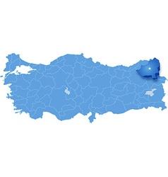 Map of Turkey Kars vector image