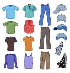 Menswear headgear shoes colored season collection vector