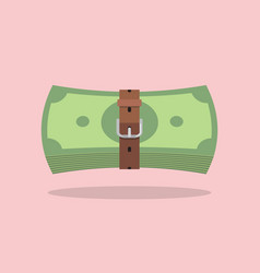 Money bills with a tight belt vector