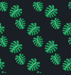 Monstera leaves seamless pattern vector