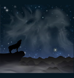 Mountain wolf howls at moon under sky vector
