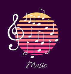 Music notes and text notation tablature poster vector