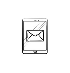 new email on mobile phone hand drawn outline vector image