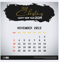 November 2019 new year calendar template brush vector
