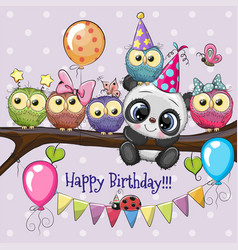 Owls and panda on a branch with balloon and vector