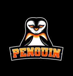 penguin gaming mascot logo team vector image