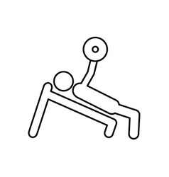 Person lifting weights gym vector
