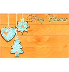 Postcard with cakes on christmas wooden against vector