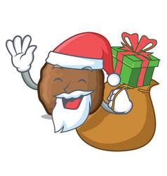 Santa with gift meatball mascot cartoon style vector