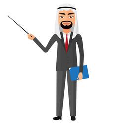 Saudi iran arab business man with a pointer vector