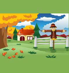 Scarecrow in the fall season vector