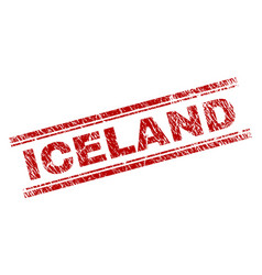 Scratched textured iceland stamp seal vector