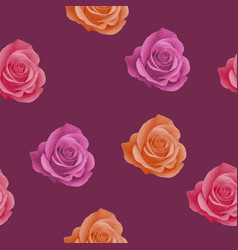 seamless pattern with realistic pink orange and vector image