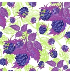 Seamless violen green pattern with raspberries vector image