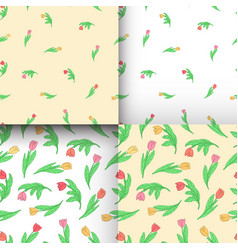 set of seamless pattern with cute cartoon colored vector image