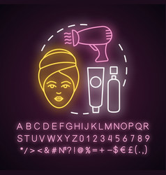 Shampoo and blow dry neon light concept icon hair vector